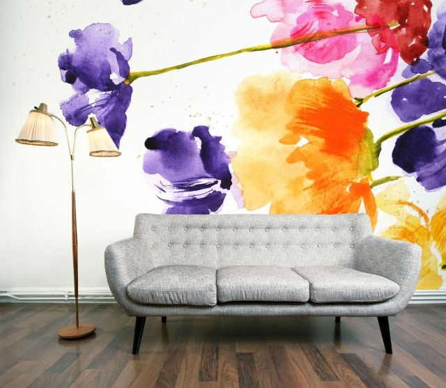 Flora watercolour wallpaper Mural