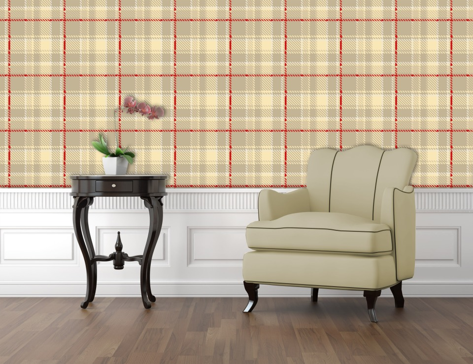 Glasgow Tartan wallpaper-Neutral
